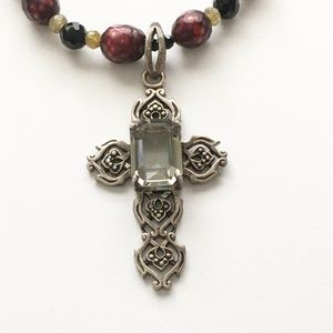 Barse Sterling Silver Cross Beaded Necklace